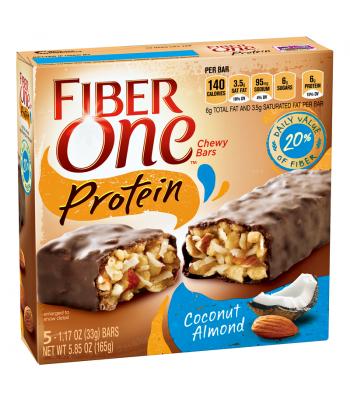 Fiber One Protein Chewy Bars - Coconut Almond - 5 Bar Box 5.85oz (165g) Chocolate, Bars & Treats