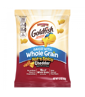 Clearance Special - Goldfish Crackers - Baked With Whole Grain - Hot 'n Spicy Cheddar - 1.5oz (43g) **Best Before: 24 December 17** Clearance Zone