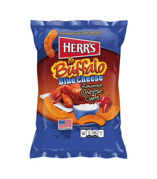 Herr's Cheese Curls - Buffalo Blue Cheese Flavour Puffs - 7oz (199g) Snacks and Chips Herr's