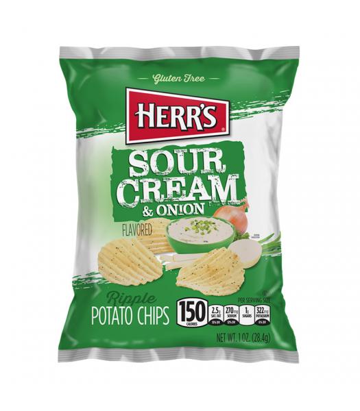 Herr's Sour Cream & Onion Ripples Potato Chips - 1oz (28.4g) Snacks and Chips Herr's