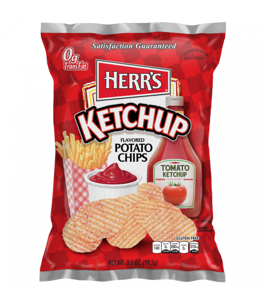 Herr's Tomato Ketchup Flavoured Potato Chips 3.5oz (99.2g) Crisps & Chips Herr's