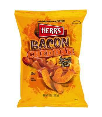 Herr's Cheese Curls - Bacon Cheddar Cheese Flavour Puffs - 6.5oz (184.3g) Snacks and Chips Herr's