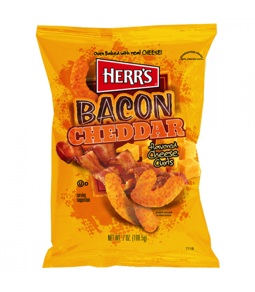 Herr's Cheese Curls - Bacon Cheddar Cheese Flavour Puffs - 7oz (198g) Crisps & Chips Herr's
