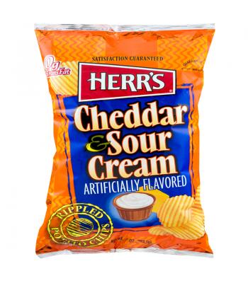 Herr's Cheddar & Sour Cream Rippled Potato Chips 1oz (28.4g) Crisps & Chips Herr's
