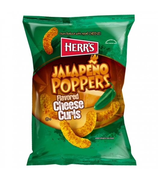 Herr's Cheese Curls - Jalapeno Poppers Flavour Puffs - 1oz (29g) Crisps & Chips Herr's