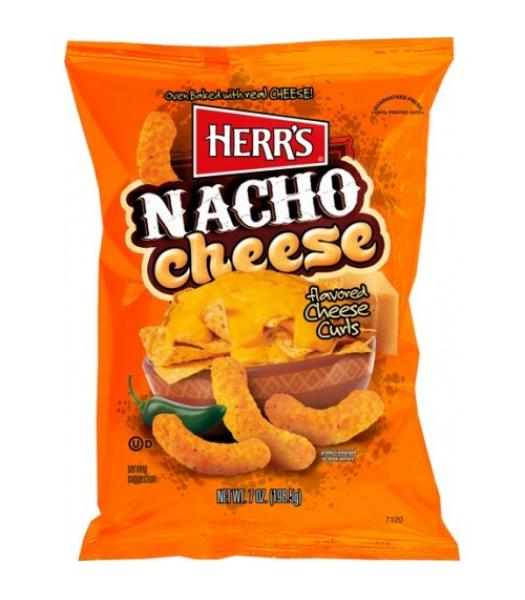 Herr's Cheese Curls - Nacho Cheese Flavour Puffs - 7oz (199g) Crisps & Chips Herr's