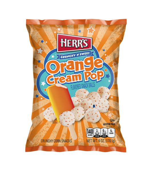 Clearance Special - Herr's Crunchy & Sweet Orange Cream Pop Snack Balls - 6oz (170g) **Best Before: 30 August 21** Clearance Zone