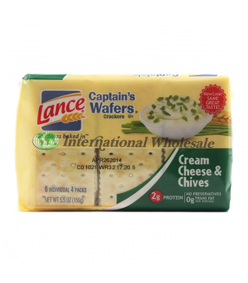 Clearance Special - Lance Captain's Wafers Cream Cheese & Chives 5.5oz (156g) (Best Before: 04 June 2016)