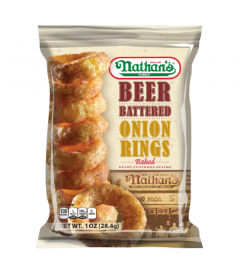 Nathan's Famous Beer Battered Onion Rings 1oz (28.4g) Snacks and Chips