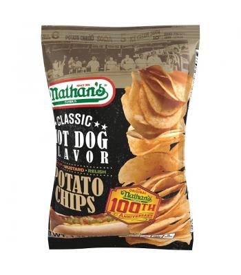 Nathan's Famous Classic Hot Dog Flavor Potato Chips 1.25oz Crisps & Chips