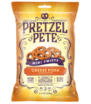 Pretzel Pete Cheese Pizza Mini Twists 3.5oz (100g) Snacks and Chips