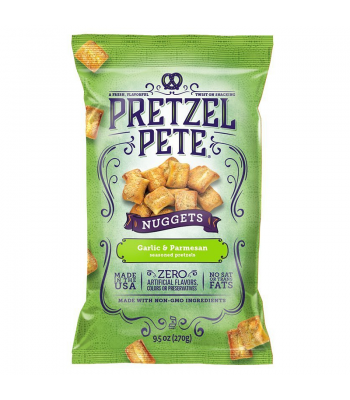 Pretzel Pete - Garlic & Parmesan Pretzel Nuggets 9.5oz (270g) Pretzel Snacks