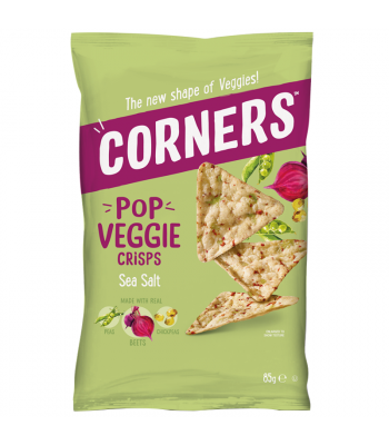 Corners - Pop Veggie Crisps (Chickpea, Beetroot & Pea) - Sea Salt (85g) Snacks and Chips