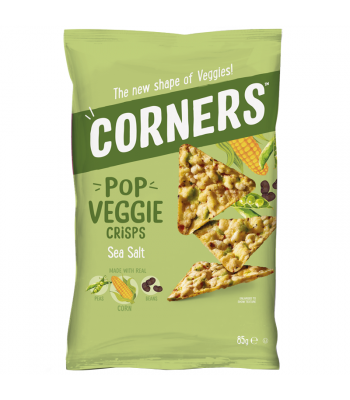 Corners - Pop Veggie Crisps (Corn, Peas & Beans) - Sea Salt (85g) Snacks and Chips Corners