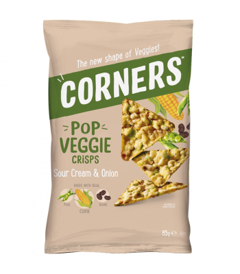 Corners - Pop Veggie Crisps (Corn, Peas & Beans) - Sour Cream & Onion (85g) Snacks and Chips Corners