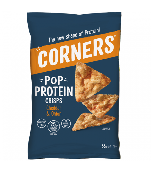 Corners - Pop Protein Crisps - Cheddar & Onion (85g) Snacks and Chips