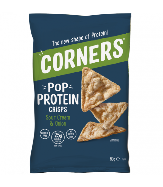 Corners - Pop Protein Crisps - Sour Cream & Onion (85g) Snacks and Chips Corners