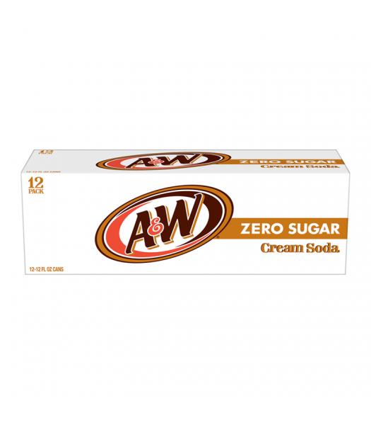 A&W Zero Sugar Cream Soda - 12-Pack (12 x 12fl.oz (355ml)) Soda and Drinks A&W