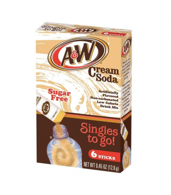 A&W Cream Soda Singles to go! Drink Mix (Sugar-Free) - 0.45oz (12.6g) Soda and Drinks A&W
