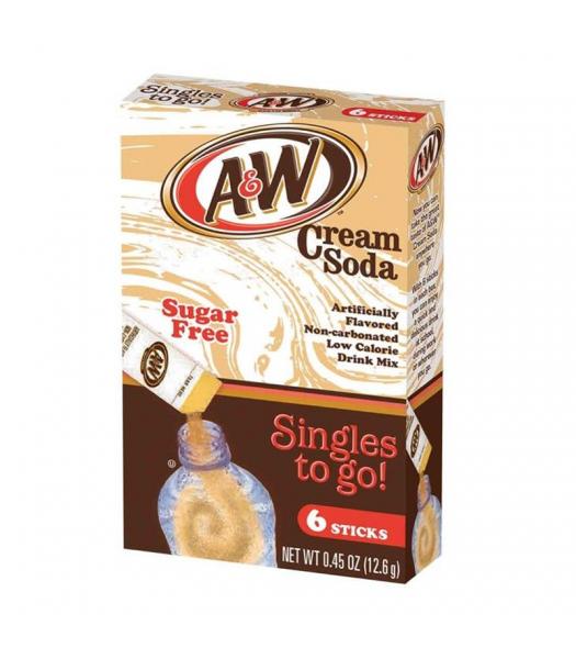 A&W Cream Soda Singles to go! Drink Mix (Sugar-Free) - 0.45oz (12.6g) Soda and Drinks A&W