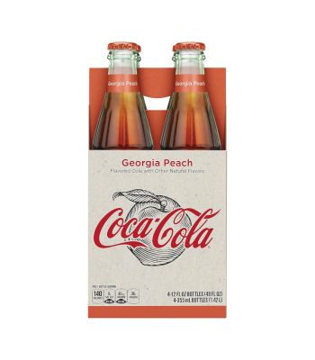 Coca Cola Georgia Peach - 12fl.oz (355ml) Glass Bottle - 4 Pack Soda and Drinks Coca Cola