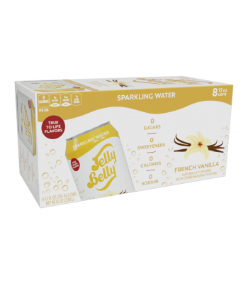 Jelly Belly French Vanilla Sparkling Water - 8-Pack (8 x 12fl.oz (355ml)) Soda and Drinks Jelly Belly