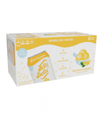 Jelly Belly Orange Sherbet Sparkling Water - 8-Pack (8 x 12fl.oz (355ml)) Soda and Drinks Jelly Belly