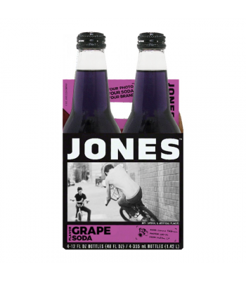 Jones Soda - Grape Soda - 12fl.oz (355ml) - 4 Pack Soda and Drinks Jones Soda