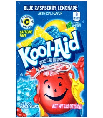 Kool Aid Blue Raspberry Lemonade Unsweetened Drink Mix Sachet 0.22oz (6.2g) Drink Mixes Kool Aid