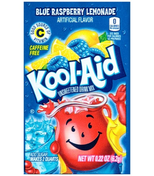 Kool Aid Blue Raspberry Lemonade Unsweetened Drink Mix Sachet 0.22oz (6.2g) Drink Mixes Kool Aid