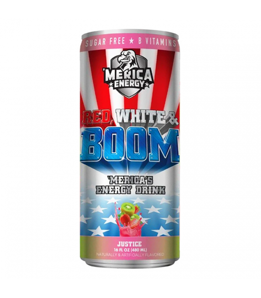 'Merica Energy Red White & Boom - Justice (Kiwi & Strawberry) - 16fl.oz (480ml) Soda and Drinks 'Merica Snax