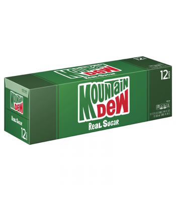 Mountain Dew Real Sugar (Throwback) - 12-Pack (12 x 12fl.oz (355ml)) Soda and Drinks Mountain Dew