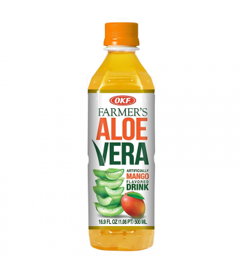 OKF Farmer's Aloe Vera Mango Flavoured Drink - 16.9oz (500ml) Soda and Drinks