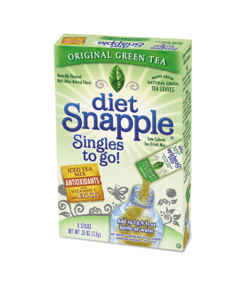 Diet Snapple Singles to go! Green Tea 6-Pack - 0.25oz (7.2g) Soda and Drinks Snapple