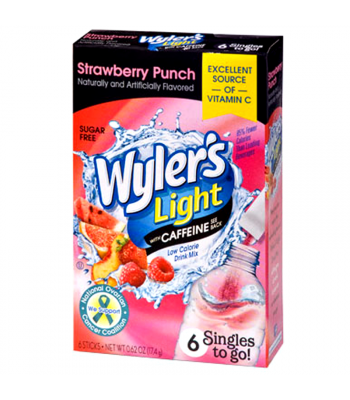 Wyler's Light with Caffeine Singles to go! - Strawberry Punch - 0.7oz (19.8g) Drink Mixes