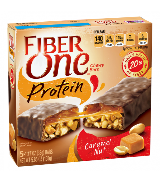 Clearance Special - Fiber One Protein Chewy Bars - Caramel Nut - 5 Bar Box 5.85oz (165g) **Best Before: 05 October 17** Clearance Zone