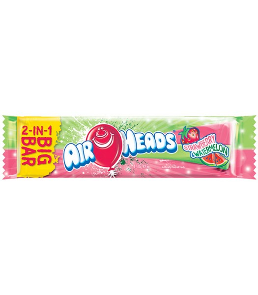 Airheads BIG BAR Strawberry and Watermelon 1.5oz (42.5g) Soft Candy Airheads