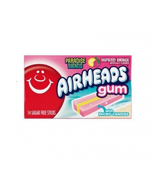 Airheads Sugar Free Gum with Micro Candies - Paradise Blends Raspberry Lemonade - 14 Stick Sweets and Candy Airheads