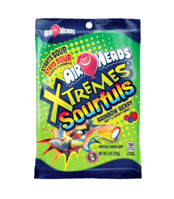 Airheads Xtremes Sourfuls Rainbow Berry 6oz (170g) Soft Candy Airheads