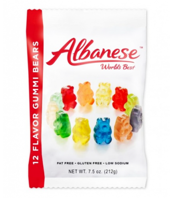 Albanese Worlds Best 12 Flavour Gummi Bears 7.5oz (212g) Soft Candy Albanese