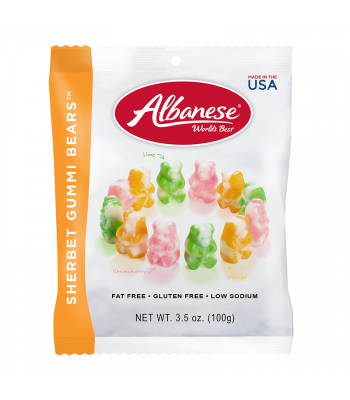 Clearance Special - Albanese Sherbert Gummi Bears Peg Bag 3.5oz (100g) ** BEST BEFORE: 1st August 2019 ** Clearance Zone