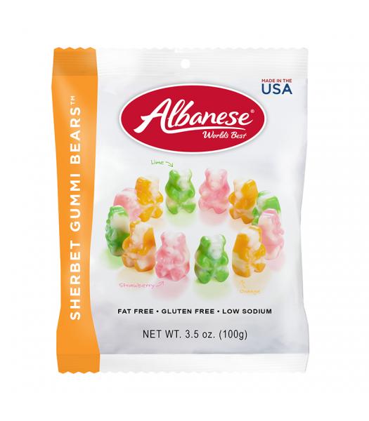 Albanese Sherbert Gummi Bears Peg Bag - 3.5oz (100g) Sweets and Candy Albanese