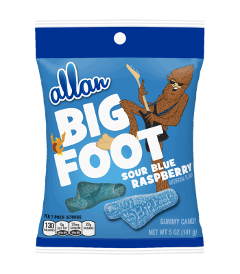 Allan Big Foot Sour Blue Raspberry Gummy Candy 5oz (141g) Soft Candy