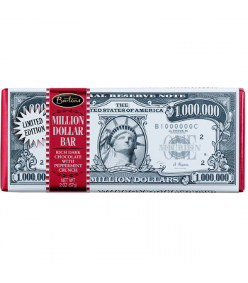 Bartons - Million Dollar Dark Chocolate with Peppermint Crunch Bar - 2oz (57g) Sweets and Candy Bartons