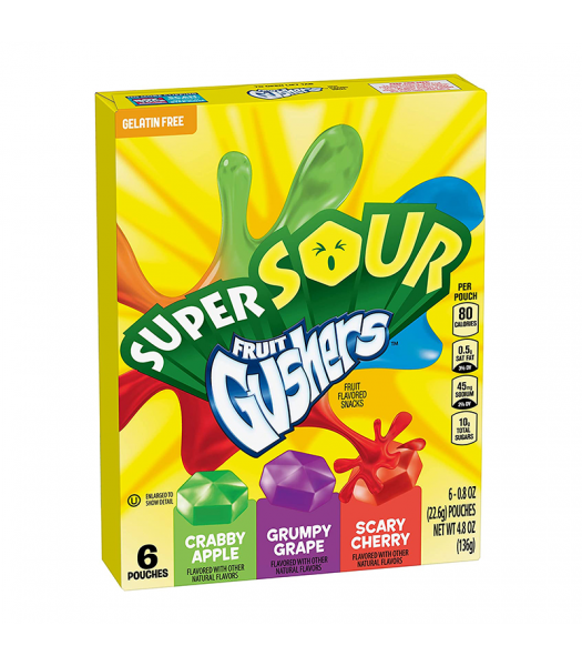 Betty Crocker Super Sour Fruit Gushers - 4.8oz (136g) Sweets and Candy Betty Crocker