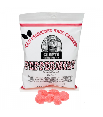 Claeys Old Fashioned Hard Candy - Peppermint 6oz (170g) Sweets and Candy Claeys