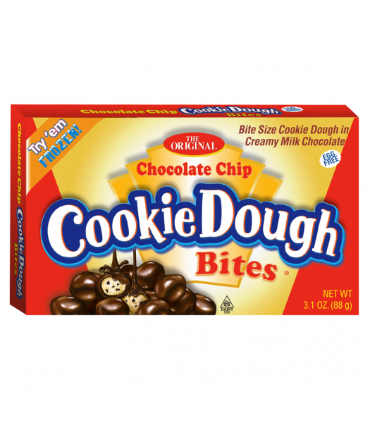 Cookie Dough Bites Chocolate Chip 3.1oz (88g) Theatre Box Sweets and Candy Cookie Dough Bites