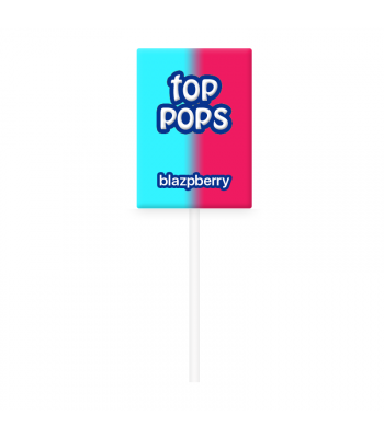 Dorval Top Pops Chewy Candy Lollipop - Blazpberry (Red and Blue Raspberry)  Lollipops