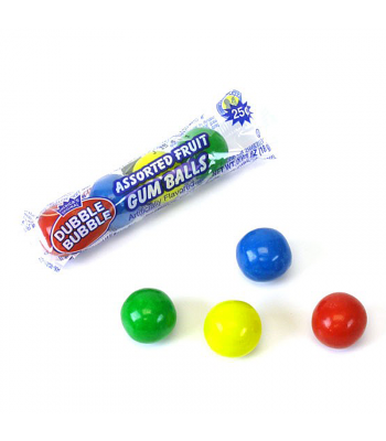 Dubble Bubble Assorted Fruit Gum Balls 4-Pack 0.65oz (18g) Bubble Gum Dubble Bubble