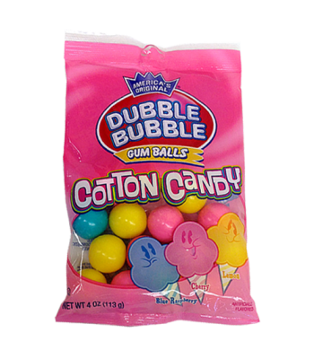 Dubble Bubble Gum Balls Cotton Candy Peg Bag - 4oz (113g) Sweets and Candy Dubble Bubble